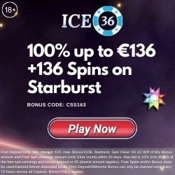 Banner image for the ICE 36 Casino promo code CSS136 for 136 spin on Starburst