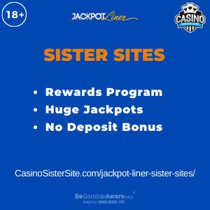 Feature image for the Jackpot Liner sister sites article showing the brand's logo and the text: Rewards Program. Huge Jackpots. No Deposit Bonus.