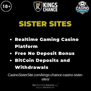 """Featured image for the Kings Chance Casino Sister Sites article with brands logo and text: """"Realtime Gaming Casino Platform. Free No Deposit Bonus. Bitcoin Deposits and Withdrawals"""