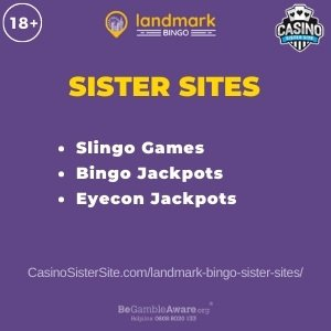 Feature image for the Landmark Bingo sister sites article showing the brand's logo and the text: Slingo Games. Bingo Jackpots. Eyecon Jackpots