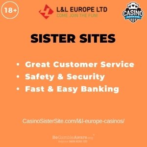 """Featured image for the L&L Europe Casinos article showing the brand's logo and the text: """"Great Customer Service. Safety & Security. Fast & Easy Banking."""""""