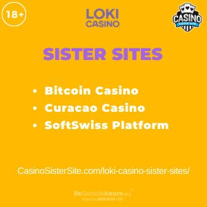 Feature image for the Loki Casino sister sites article showing the brand's logo and the text: Bitcoin Casino. Curacao Casino. SoftSwiss Platform.