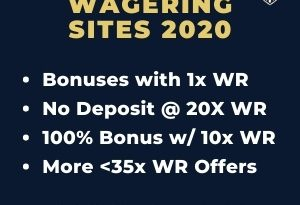 "Featured image for Low Wagering Sites with brand's logo and text: ""Bonuses with 1x WR. No Deposit @ 20x WR. 100% Bnonus with 10x WR. More"