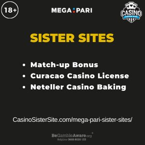 Feature image for the Mega Pari sister sites article showing the brand's logo and the text: Match Up Bonus. Curacao Casino License. Neteller Casino Banking.