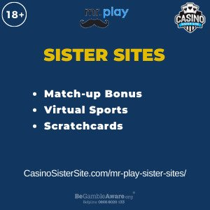 Feature image for the Mr Play sister sites article showing the brand's logo and the text: Match Up Bonus. Virtual Sports. Scratchcards.