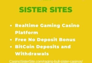 """Featured image for Raging Bull Sister Casinos with brand's logo and text: """"Realtime Gaming Casino Platform. Free No Deposit Bonus. BitCoin Deposits and Withdrawals."""""""