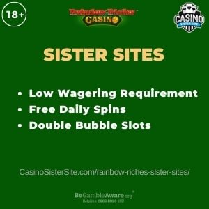 "Featured image for Rainbow Riches Casino Sister Sites review article with brand's logo and text: ""Low Wagering Requirement. Free Daily Spins. Double Bubble Slots."""