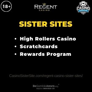 Feature image for the Regent Casino sister sites article showing the brand's logo and the text: High Roller Casino. Scratchcards. Reward Programs.