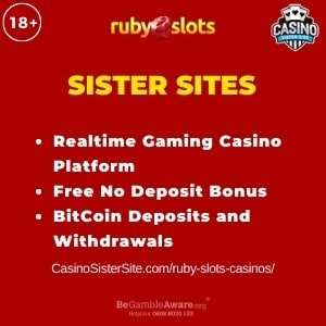 "Featured image for Ruby Slots Casinos with brand's logo and text: ""Realtime Gaming Casino Platform. Free No Deposit Bonus. BitCoin Deposits and Withdrawals."""