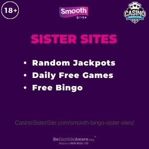 Feature image for the Smooth Bingo sister sites article showing the brand's logo and the text: Random Jacpots. Daily Free Games. Free Bingo.