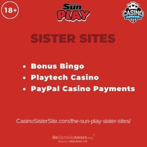 Feature image for the Sun Play sister sites article showing the brand's logo and the text: Bonus Bingo. Playtech Casino. PayPal Casino Payments.