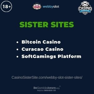 Feature image for the Webby Slot sister sites article showing the brand's logo and the text: Bitcoin Casino. Curacao Casino. SoftGamings Platform.