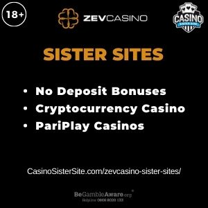 "Feature image for the ZevCasino Sister sites review article showing the brand's logo and the text: ""Sister Sites. No Deposit Bonuses. Cryptocurrency Casino. PariPlay Casinos."""