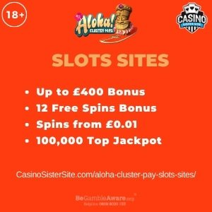 "Featured image for the aloha cluster pay slots sites review showing the game's logo and the text: ""Up to £400 bonus,12 free spins bonus,spins from £0.01, 1000,000 jackpot."""