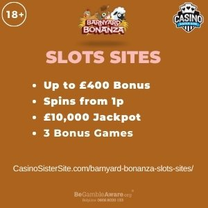 """Featured image for the barnyard bonanza slots sites review showing the game's logo and the text: """"Up to £400 bonus,spins from 1p,£10,000 jackpot,3 bonus game."""""""