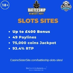 """Featured image for the battleship slots sites review showing the game's logo and the text: """"Up to £400 bonus,49 paylines,75,000 coins jackpot,93.4% RTP."""""""