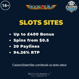 """Featured image for the book ra slots sites review showing the game's logo and the text: """"Up to £400 bonus,spins from $0.5,20 paylines,94.26% RTP."""""""