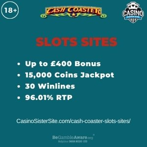 """Featured image for the cash coaster slots sites review showing the game's logo and the text: """"Up to £400 bonus,15,000 coins jackpot,30 winlines,96.01% RTP."""""""