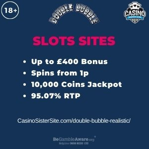 """Featured image for the double bubble realistic review showing the game's logo and the text: """"Up to £400 bonus,spins from 1p,10,000 coins jackpot,95.07% RTP."""""""