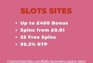 "Featured image for the fluffy favourites casino sites review showing the game's logo and the text: ""Up to £400 bonus,spins from £0.01, 25 free spins, 95.3% RTP."""