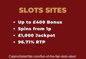 "Featured image for the fun of the fair slots sites review showing the game's logo and the text: ""Up to £400 bonus,spins from 1p,£1,000 jackpot,96.71% RTP."""