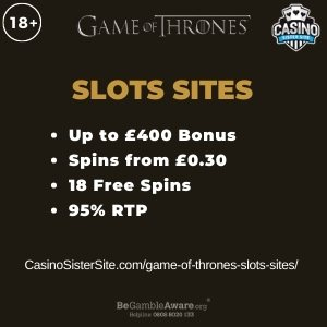 "Featured image for the game of thrones slots sites review showing the game's logo and the text: ""Up to £400 bonus,spins from £0.30,18 free spins,95% RTP."""