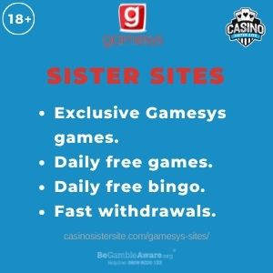 """Banner Image for Gamesys Sites article with text """"Exclusive Gamesys games. Daily free games. Daily free bingo. Fast withdrawals."""""""