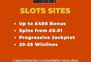 """Featured image for the godfather slots sites review showing the game's logo and the text: """"Up to £400 bonus,spins from £0.01, progressive jackpot,20-25 winlines."""""""