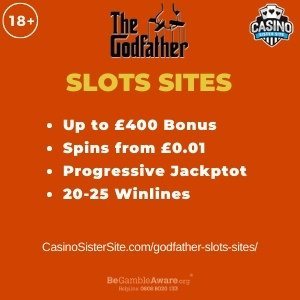 "Featured image for the godfather slots sites review showing the game's logo and the text: ""Up to £400 bonus,spins from £0.01, progressive jackpot,20-25 winlines."""