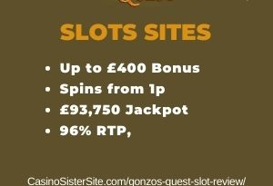 """Featured image for the gonzos quest slot review review showing the game's logo and the text: """"Up to £400 bonus,spins from 1p,£93,750 jackpot,96% RTP."""""""