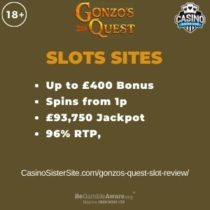"Featured image for the gonzos quest slot review review showing the game's logo and the text: ""Up to £400 bonus,spins from 1p,£93,750 jackpot,96% RTP."""