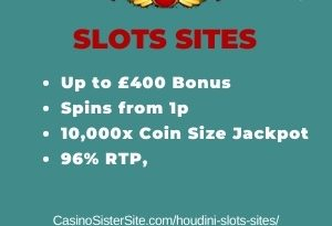 "Featured image for the houdini slots sites review showing the game's logo and the text: ""Up to £400 bonus,spins from 1p,10,000 coins jackpot,96.01% RTP."""