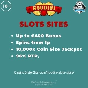 """Featured image for the houdini slots sites review showing the game's logo and the text: """"Up to £400 bonus,spins from 1p,10,000 coins jackpot,96.01% RTP."""""""