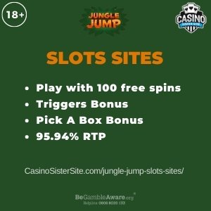 """Featured image for the jungle jump slots sites review showing the game's logo and the text: """"Play with 30 free spins,triggers bonus, Pick a box bonus,95.94% RTP."""""""