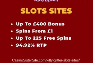 """Featured image for the kitty glitter slots sites review showing the game's logo and the text: """"Up to £400 bonus,spins from £1,up to 225 free spins,94.92% RTP."""""""