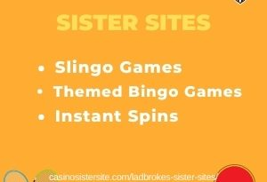"Featured image for the Sites Like Ladbrokes article showing the brand's logo and the text: ""Slingo Games. Themed Bingo Games. Instant Spins."""