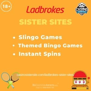"""Featured image for the Sites Like Ladbrokes article showing the brand's logo and the text: """"Slingo Games. Themed Bingo Games. Instant Spins."""""""