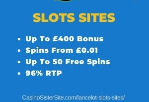 "Featured image for the lancelot slots sites review showing the game's logo and the text: ""Up to £400 bonus,spins from £0.01, up to 50 free spins,96% RTP."""