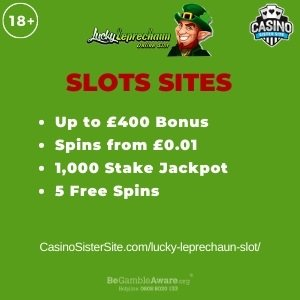 "Featured image for the lucky leprechaun slot review showing the game's logo and the text: ""Up to £400 bonus,spins from £0.01, 1,000 stake jackpot,5 free spins."""