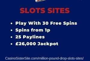 """Featured image for the million pound drop slots sites review showing the game's logo and the text: """"Play with 30 free spins,spins from 1p,25 paylines£26,000 jackpot."""""""