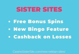 "Featured image for New Nektan Sites with brand's logo and text: ""Free Bonus Spins. New Bingo Feature. Cashback on Losses."""