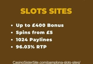"""Featured image for the pamplona slots sites review showing the game's logo and the text: """"Up to £400 bonus,spins from £5,1024 paylines,96.03% RTP."""""""