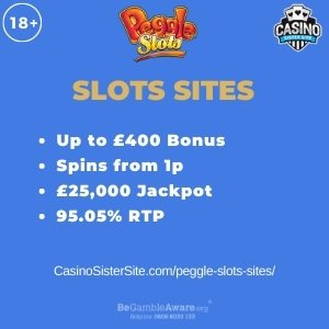 """Featured image for the peggle slots sites review showing the game's logo and the text: """"Up to £400 bonus,spins from 1p,£250,000 jackpot,95.05% RTP."""""""