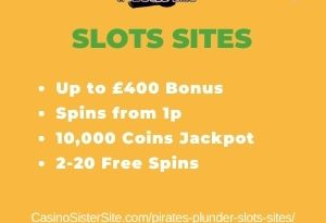 """Featured image for the pirates plunder slots sites review showing the game's logo and the text: """"Up to £400 bonus,spins from 1p,10,000 coins jackpot,2-20 free spins."""""""