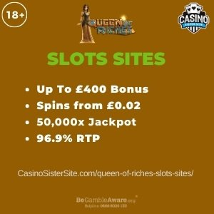"Featured image for the queen of riches slots sites review showing the game's logo and the text: ""Up to £400 bonus,spins from £0.02,50,000x wager size jackpot, 96.9% RTP."""