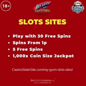 """Featured image for the ray gunn slots sites review showing the game's logo and the text: """"Play with 30 free spins,spins from 1p,5 free spins,1,000x coin size jackpot."""""""