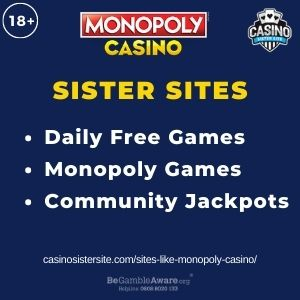 """Feature image for Sites Like Monopoly Casino article with text """"Daily Free Games. Monopoly Games. Community Jackpots."""""""