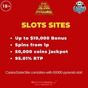"Featured image for the sites with 50000 pyramid slot review showing the game's logo and the text: ""Up to $10,000 bonus,spins from 1p,50,000 jackpot,95.01% RTP."""