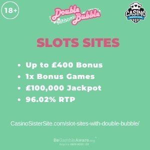 """Featured image for the slot sites with double bubble review showing the game's logo and the text: """"Up to £400 bonus,1x bonus games, £100,000 jackpot,96.02% RTP."""""""