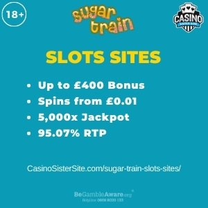 """Featured image for the sugar train slots sites review showing the game's logo and the text: """"Up to £400 bonus,spins from £0.01, 5,000x jackpot,95.01% RTP."""""""